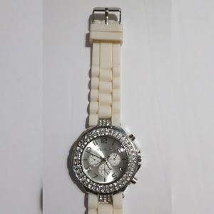 Geneva Circular Jewels White Rubber Band Watch